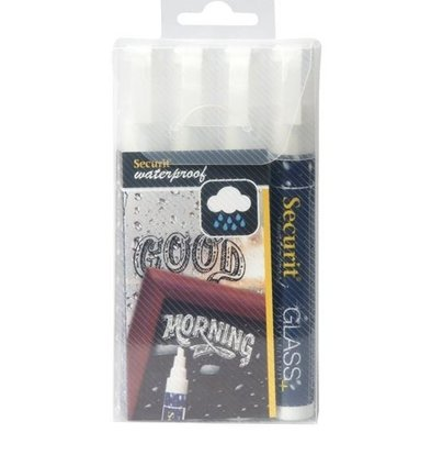 Securit Waterproof Chalk Markers White | 2-6mm | 4 pieces