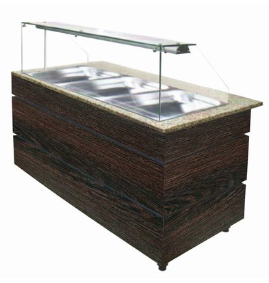 Combisteel Warm Buffet Wenge 1250 | 3x GN1/1 | 2020W | 1250x800x1355(h)mm