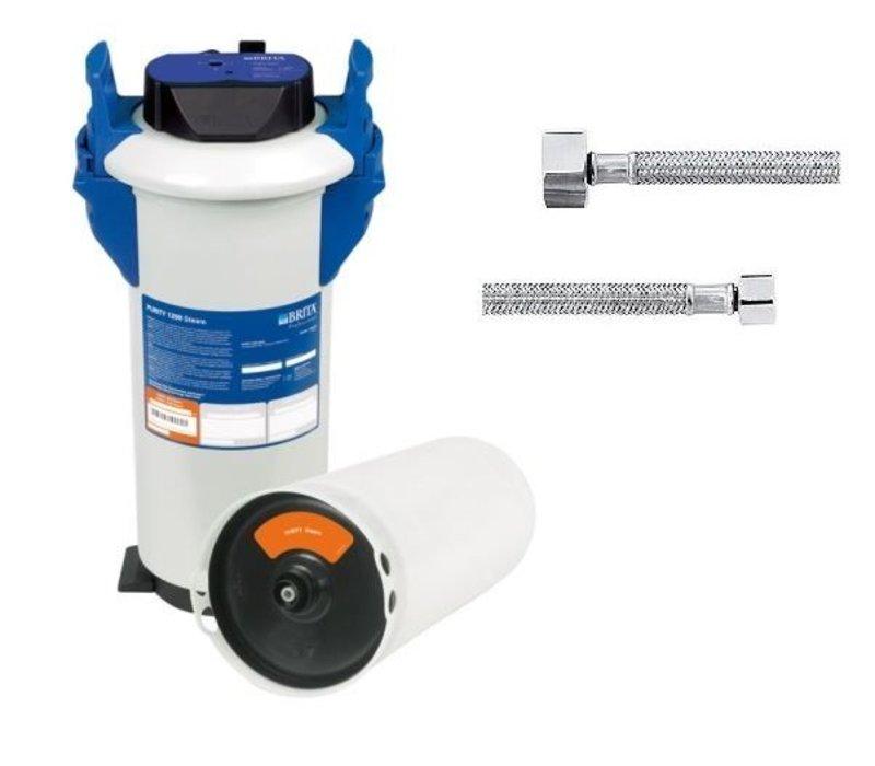 Brita Reinheit Dampf 1200 | Kombidämpfer für> 10 Stufen | Komplett-Set: Filtration + Anschlussschläuche