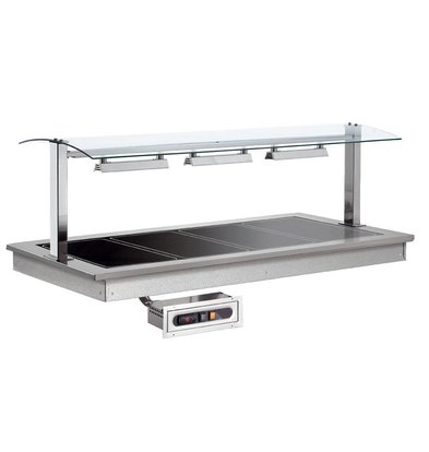 XXLselect Heated Plate 4/1 | Drop-In | 1140W | 4x GN1 / 1 | 1494x650x290 (h) mm