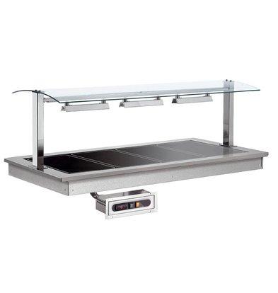 Combisteel Verwarmde Plaat 3/1 | Drop-In | 855W | 3x GN1/1 | 1169x650x290(h)mm