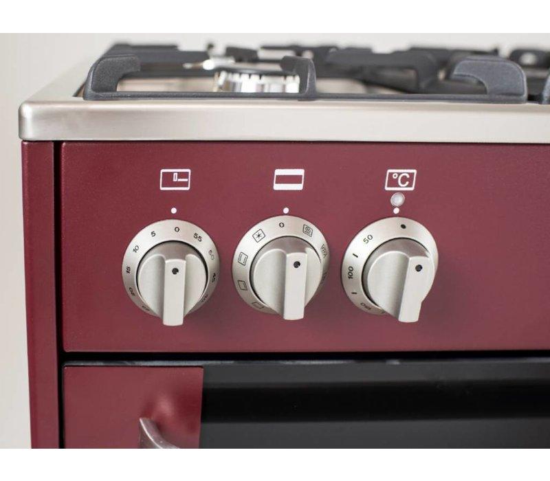 Saro Gasfornuis Rood 5 Pits + Elektrische Oven + Elektrische Grill 90 Liter | 230V | 900x600x(H)850mm