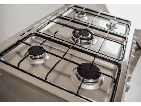Saro Gasfornuis Zilver met 5 Pitten + Elektrische Oven + Grill 90 Liter   900x600x(H)850mm