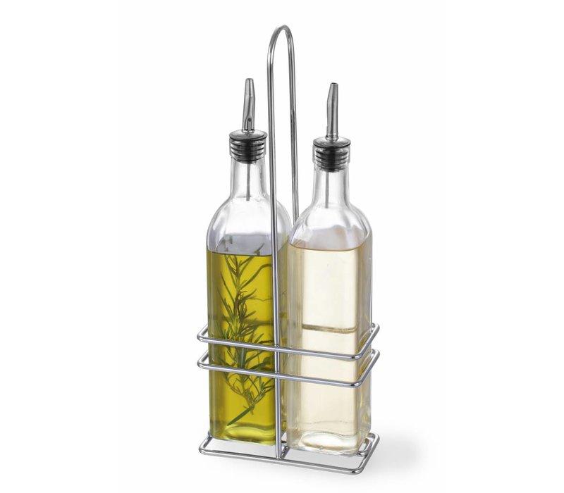 Hendi Essig und Öl Menage | 2 Flaschen mit serbischen Kalb | 2x 237ml