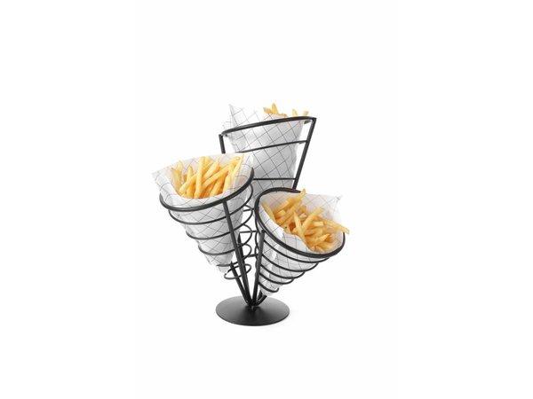 Hendi Friteszakhouder | 3 Frites Taschen | 270x270x280 (h) mm
