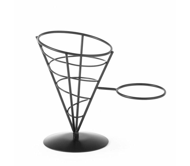Hendi Friteszakhouder | Schwarzer Draht-Rahmen | 210x110x172 (h) mm