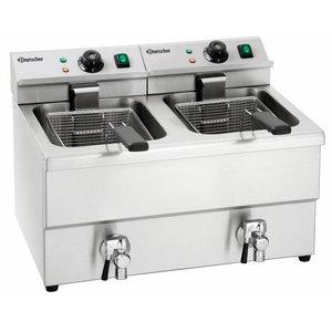 Bartscher Electric Fryer | With Bleed taps | 2x8 Liter | 2x3,5kW | 580x550x (H) 410mm