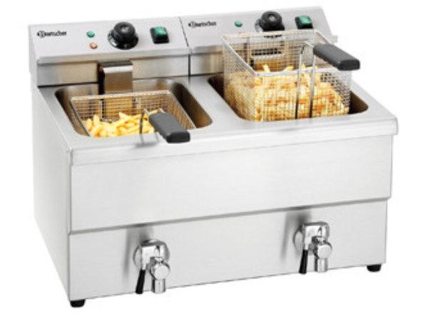 Bartscher Fritteuse | Mit Ablasshähne | 2x8 Liter | 2x3,5kW | 580x550x (H) 410mm