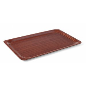 Hendi Mahogany Tray Rectangle | anti-slip coating + Break-resistant | LUXE | 430x610 mm