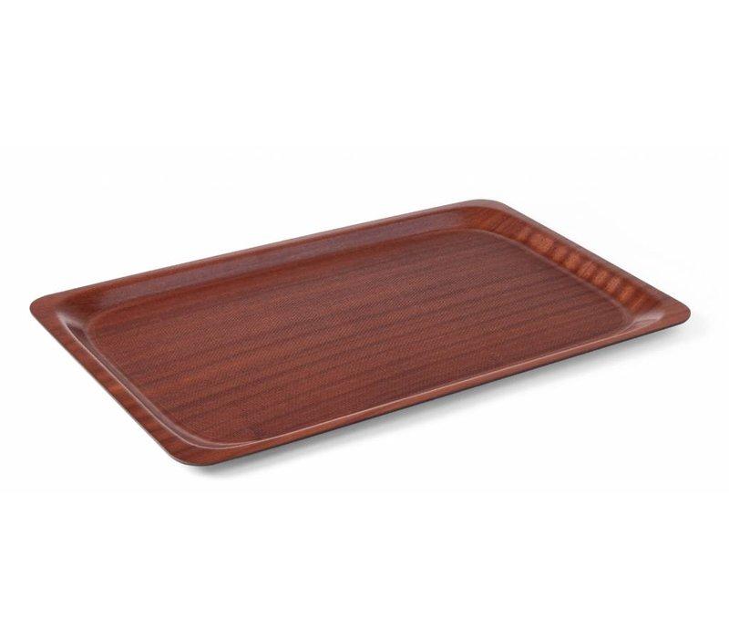 Hendi Mahagoni Tablett Rechteckig   Anti-Rutsch-Beschichtung + Bruchfest   LUXE   430x610 mm