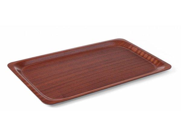Hendi Mahogany Tray European Standard | Anti-slip with reinforced wood | 370x530 mm