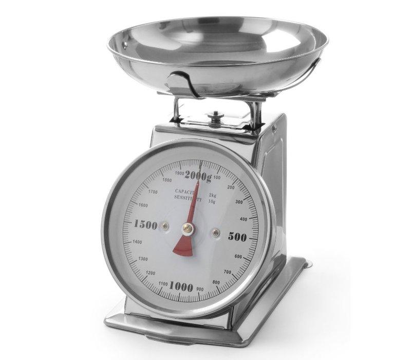 Hendi RVS Weegschaal met kom   max. 2 kg -  weergave per 10 g
