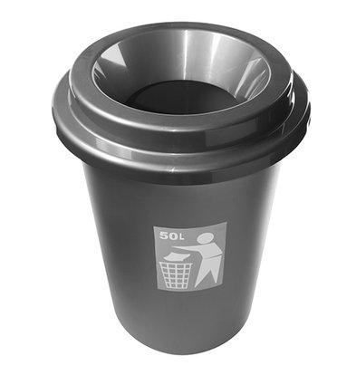 XXLselect Rund 50 Liter Abfallbehälter | Grau Kunststoff | Ø420x (H) 600mm