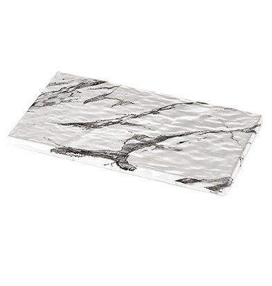 XXLselect Serve Plateau Weiße Marmorblick | Hochwertige Melamin | Hohe Bruchfestigkeit | 1/3 GN