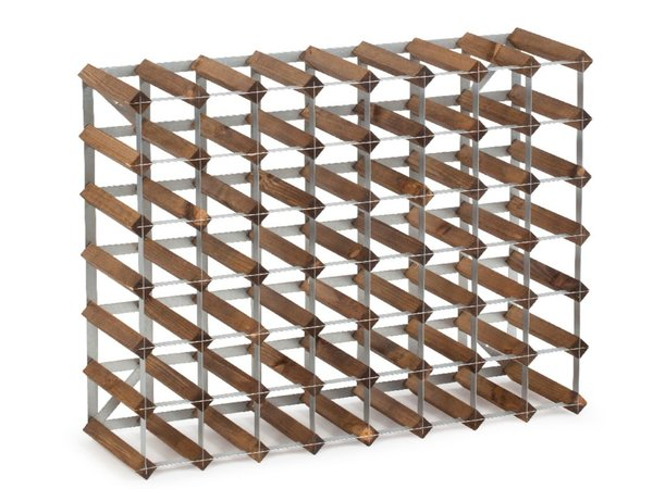 XXLselect Wine Rack 56 bottles - 80.4 x 22.8 x (h) 61,2cm - Wood / Metal
