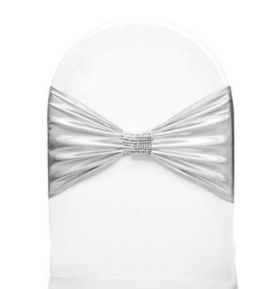 Unicover Stuhlband mit silbernen Ketten | One Size | weiß