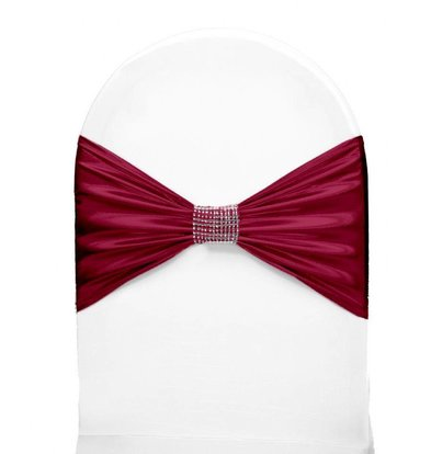 Unicover Stuhlband mit silbernen Ketten | One Size | Bordeaux