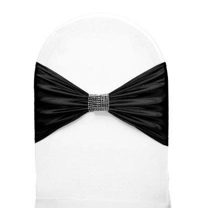 Unicover Stuhlband mit silbernen Ketten | One Size | schwarz
