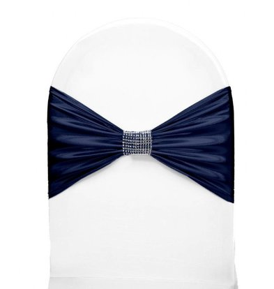 Unicover Stoelband met Zilverbandje | One Size | Donkerblauw