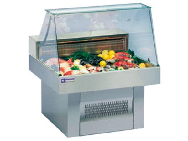 Diamond Stellen Zähler Fische | Gebogene Windschutzscheiben | Gekühlte 0 / + 2 ° C | 1000x1000x (h) 1195mm