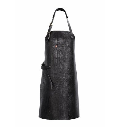 XXLselect Leather Apron Cayman | nero | Large 74 (L) x60 (W) cm | Adjustable | printing possible