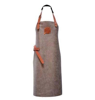 XXLselect Leather Apron Florida | Grey | Large 82 (L) x60 (W) cm | Adjustable | printing possible