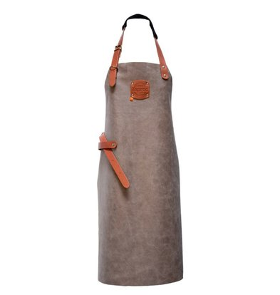 XXLselect Leather Apron Florida | Grey | For Heavy Women | XL 89 (L) x70 (W) cm | Adjustable | printing possible