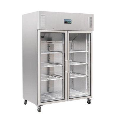 Polar Refrigerator Double Glass Door | 1200L | On Wheels | 1340x800x2010 (h) mm