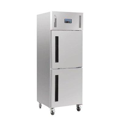 Polar Einzeltür-Kühlschrank aus Edelstahl | 600L | auf Rädern | 680x800x2010 (h) mm