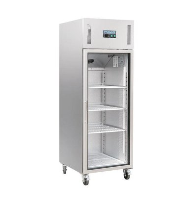 Polar Kühlschrank Glastür Edelstahl | 600L | On Wheels | 680x800x2010 (h) mm
