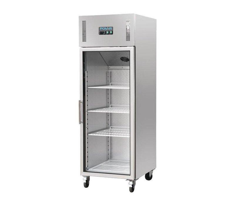 Kühlschrank Glastür Edelstahl | 600L | On Wheels | 680x800x2010 (h) mm
