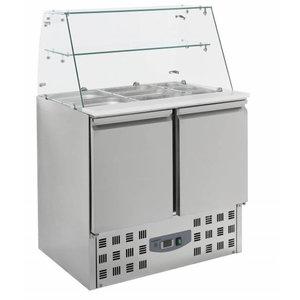 XXLselect Saladette 2 deurs | Glasopstand | 2,4kW | 900x700x850(h)mm