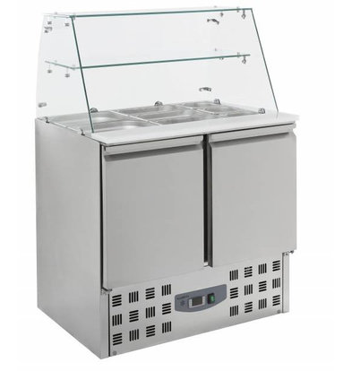 XXLselect Saladette 2 deurs   Glasopstand   2,4kW   900x700x850(h)mm