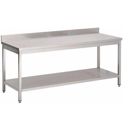 XXLselect RVS Werktafel met Onderblad en Achteropstand | 70x85cm | Keuze uit 8 Breedtes