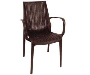 Stoel Met Leuning : Xxlselect kunststof rotan stoel met armleuning bruin per 4 stuks