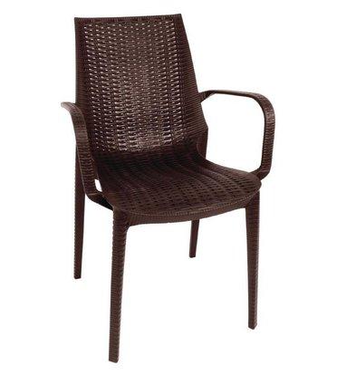 XXLselect Synthetische Rattan-Stuhl mit Armlehne | braun | 4 Stück