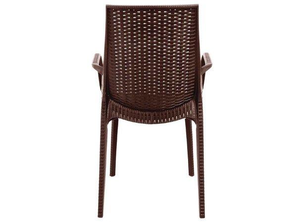 Xxlselect kunststof rotan stoel met armleuning bruin per stuks