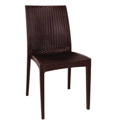 XXLselect Synthetische Rattan-Stuhl | braun | stapelbare | 4 Stück
