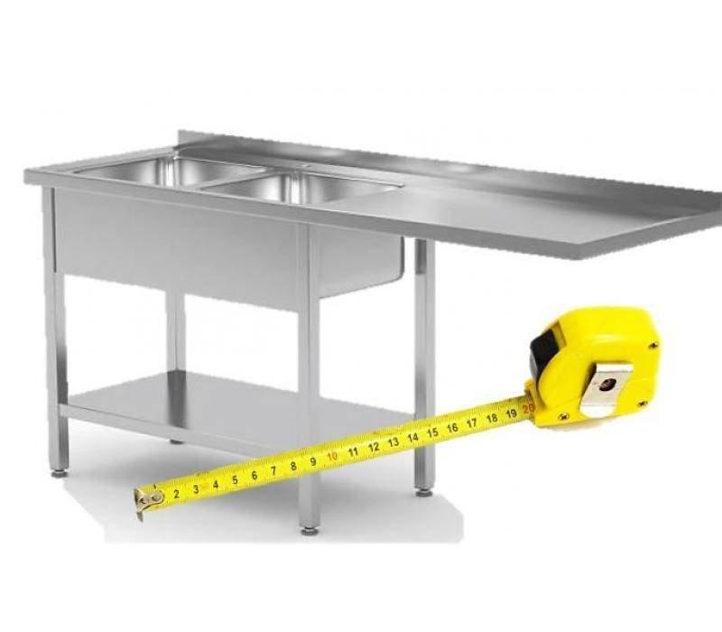 XXLselect RVS Spoeltafel voor Vaatwasser op Maat - Voor Voorlader of Dooschuifmachine op Maat - Alle soorten Spoeltafels in iedere Maat