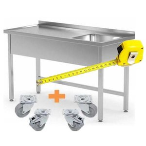 XXLselect Stainless Steel Sink On Wheels | CUSTOM | Each size Possibility
