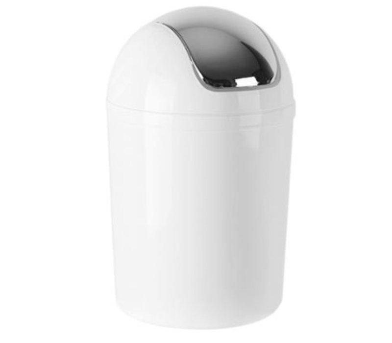 Emga Kunststoff-Papierkorb mit Schwingdeckel | 5L | weiß