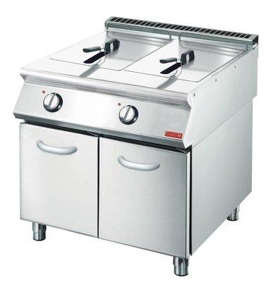 Gastro M Fritteuse | Elektrizität | SS | 2 x 10 Liter | 400V | 15kW | Mit Berg | 800x700x (H) 850mm