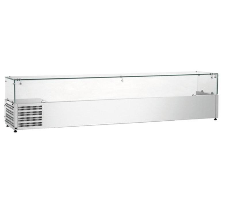 Bartscher Kühlvitrine mit Glasplatte - 9x CN 1/3 oder 1/6 18X CN - 200x39,5x (H) von 42,5 cm