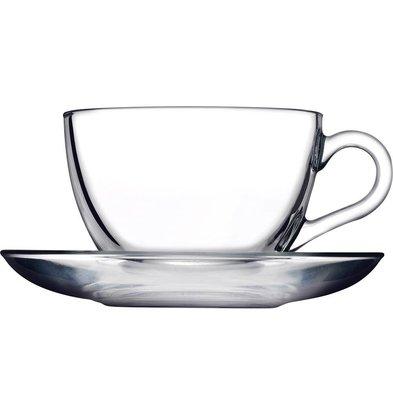 XXLselect Capucino Tasse mit Untertasse | Glas | 238ml | Pro 24 Stück