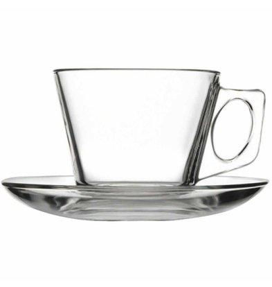 XXLselect Kaffeetasse mit Untertasse | Glas | 185ml | Pro 24 Stück