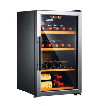 Exquisit Wijnkoelkast Zwart/Aluminium | 133 Liter | 525x632x825(h)mm
