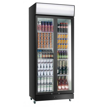 Exquisit Display Fridge Black PVC | Folding doors | 800 liters | 1010x660x2000 (h) mm