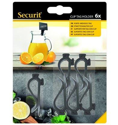Securit Clip Schwarz | Tags für Tafel Preis (ohne MwSt.) | 6 Stück