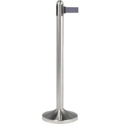 Securit Barrier pole Chrome | With gray drawstring 210cm | Pole 1m x Ø30cm