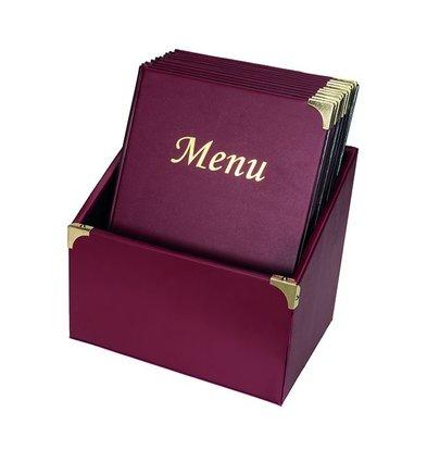 Securit Menukaarten Box incl. 10 Menukaarten Bordeaux Basic   Formaat A4   370x290x210mm
